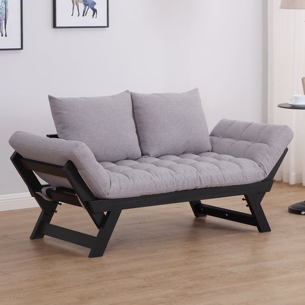 Homcom Convertible Sofa Bed Futon Loveseat Living Room With Pillow Grey Aosom Canada In 2020 Loveseat Living Room Modern Lounge Furniture Sofa Design