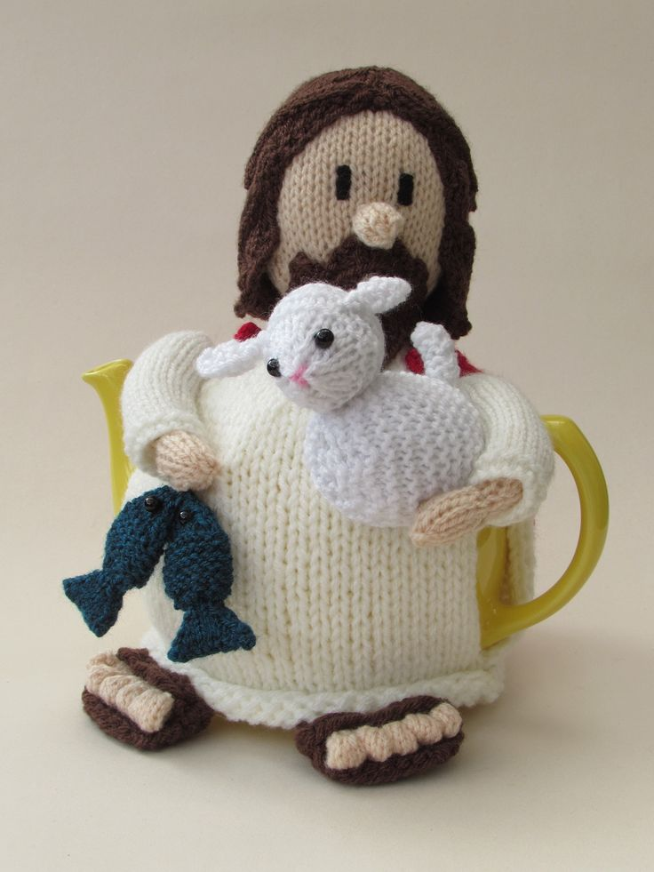 The Jesus tea cosy  from the TeaCosyFolk range of tea cosies has bags of character. You can buy the Jesus tea cosy as a finished hand crafted tea cosy , or as a Jesus tea cosy knitting pattern  to make your own tea cosy  with character