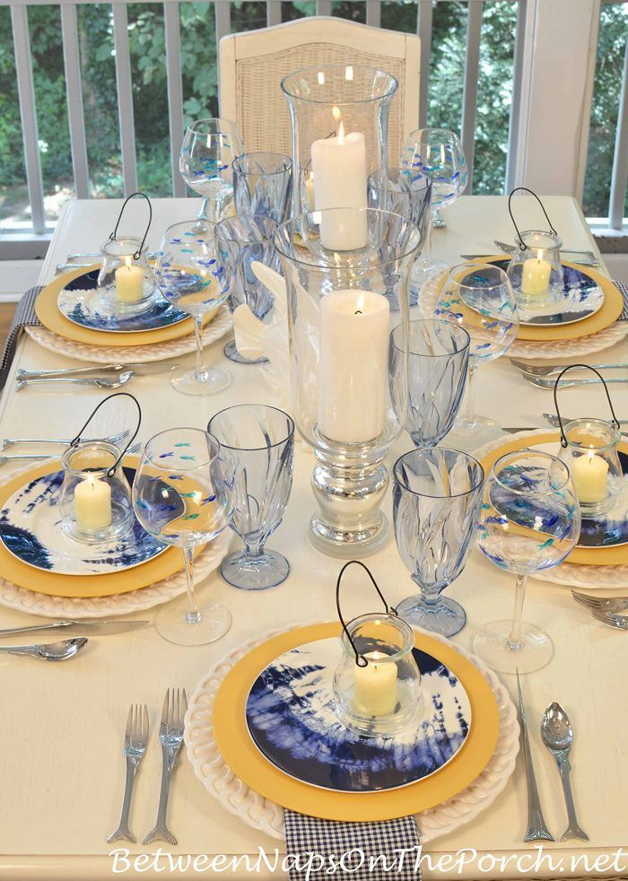 Beach Table Setting in Yellow and Cobalt Blue from Between Naps on the Porch.