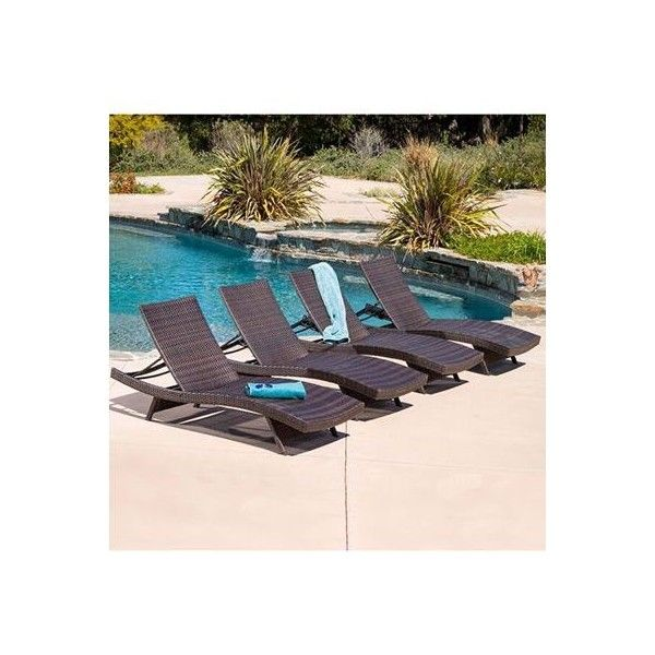 Aldin 4-Pc. Set of Outdoor Wicker Lounges, Quick Ship ($926) ❤ liked on Polyvore featuring home, outdoors, patio furniture, outdoor loungers & day beds, brown, outdoor wicker patio furniture, outdoor lounge, wicker loungers, outdoor wicker furniture and outdoor lounger