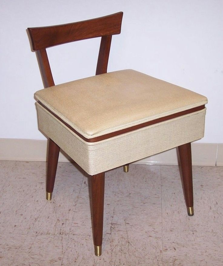 Vintage Mid Century Danish Modern Sewing Vanity Stool Chair Wood Bench W Storage