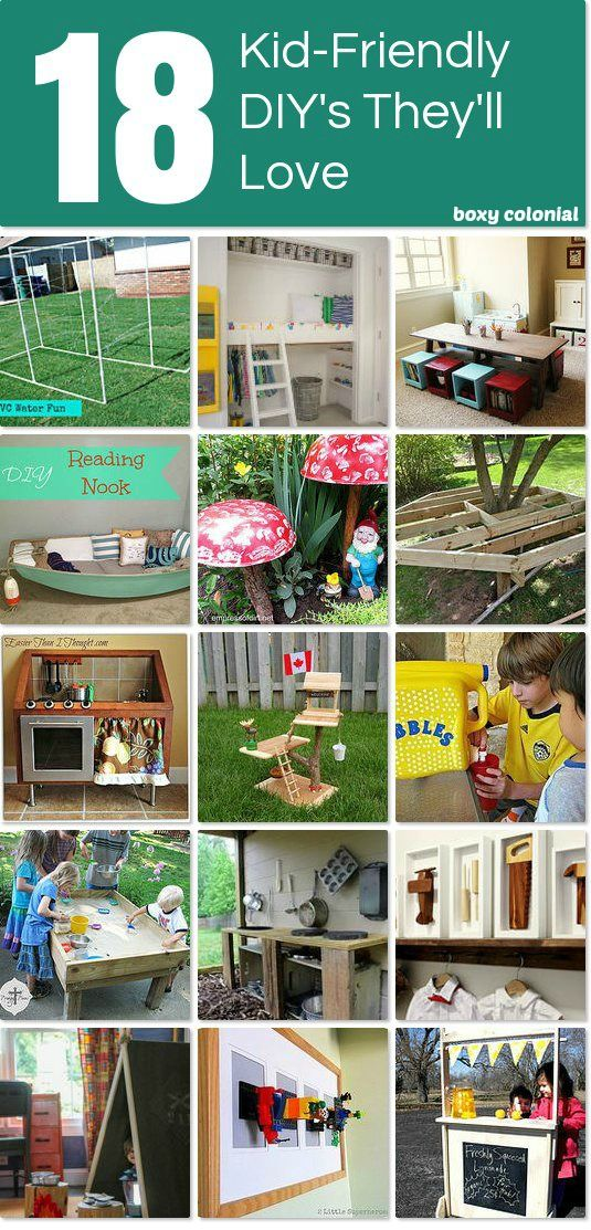 A Great Collection of Fun Projects to make for kids: get your backyard or playroom ready for summer fun! Play kitchens, lemonade stand, treehouse, backyard games, etc.