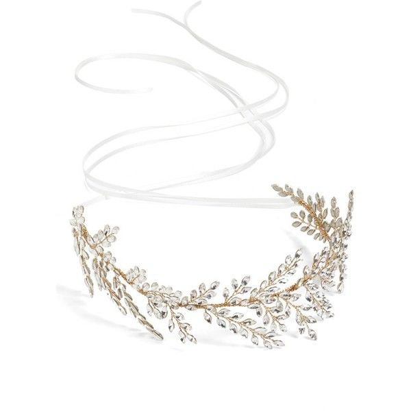 Women's Brides & Hairpins 'Kira' Jeweled Headband ($460) ❤ liked on Polyvore featuring accessories, hair accessories, hair bands accessories, hair band headband, head wrap headbands, jewel headband and head wrap hair accessories