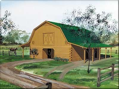 Log home a gambrel roofed log barns living quarters for Gambrel barn plans with living quarters
