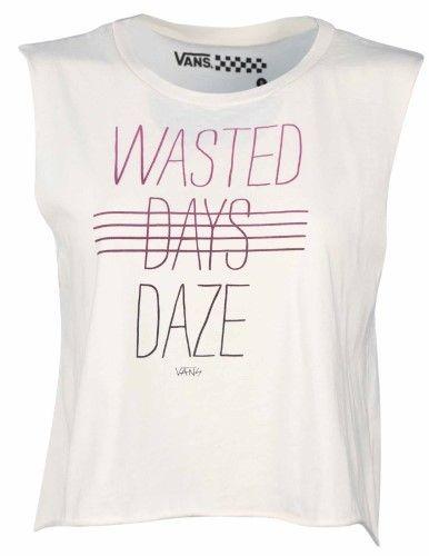 Vans Women's Wasted Days Daze Crop Muscle Shirt-Cream-XL