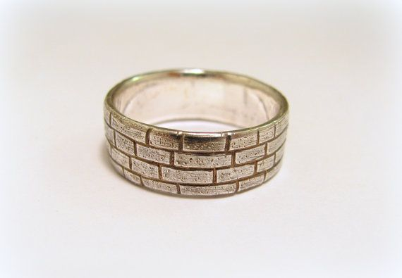 Silver brick ring / wall ring by Minicsiga on Etsy