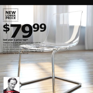 Clear chair! So cool! And so cheap!