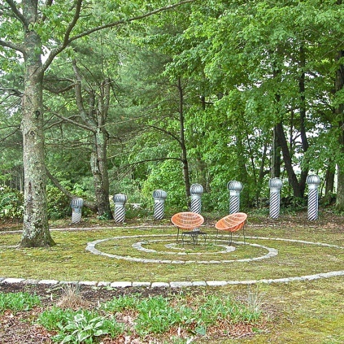 Labyrinth Moss Stone And Art Made From Ventilators