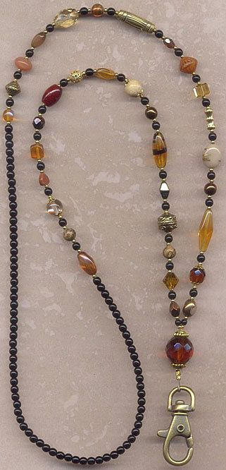 Blissful Browns and Gilded Golds Beaded ID Badge by lanyardwoman