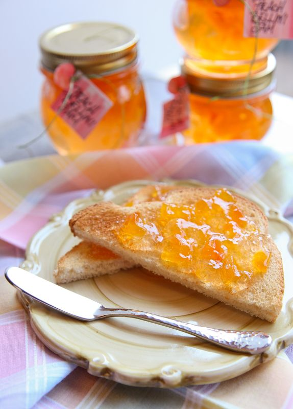 """Peach Bellini Jam from Kristina at """"The Daily Dish"""" on BetterRecipes.comPeach Bellini Jam  (click here to view and print recipe)  7 1/2 cups sugar  3 cups finely choppped, peeled ripe peaches  1 cup Prosecco or other sparkling white wine  2 Tablespoons lemon juice  1/2 of a 6-ounce package (1 foil pouch) liquid fruit pectin"""
