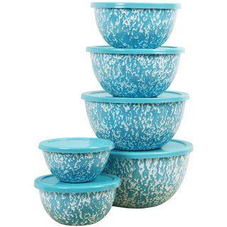 Reston Lloyd Calypso Basics Turquoise Marble 12-piece Enamel Bowl Set | Overstock.com Shopping - The Best Deals on Bowls & Colanders