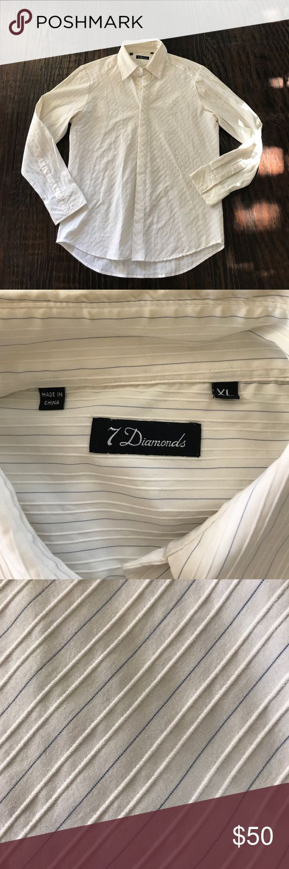 "7 Diamonds Men's Long Sleeve Button Down Shirt Cream with blue stripes button down shirt. Fabric is stretchy. Pointed collar. Pit to pit 22.5"", Front length 29.5"", Sleeve Length from hem to pit 20"". 7 Diamonds Shirts Dress Shirts"