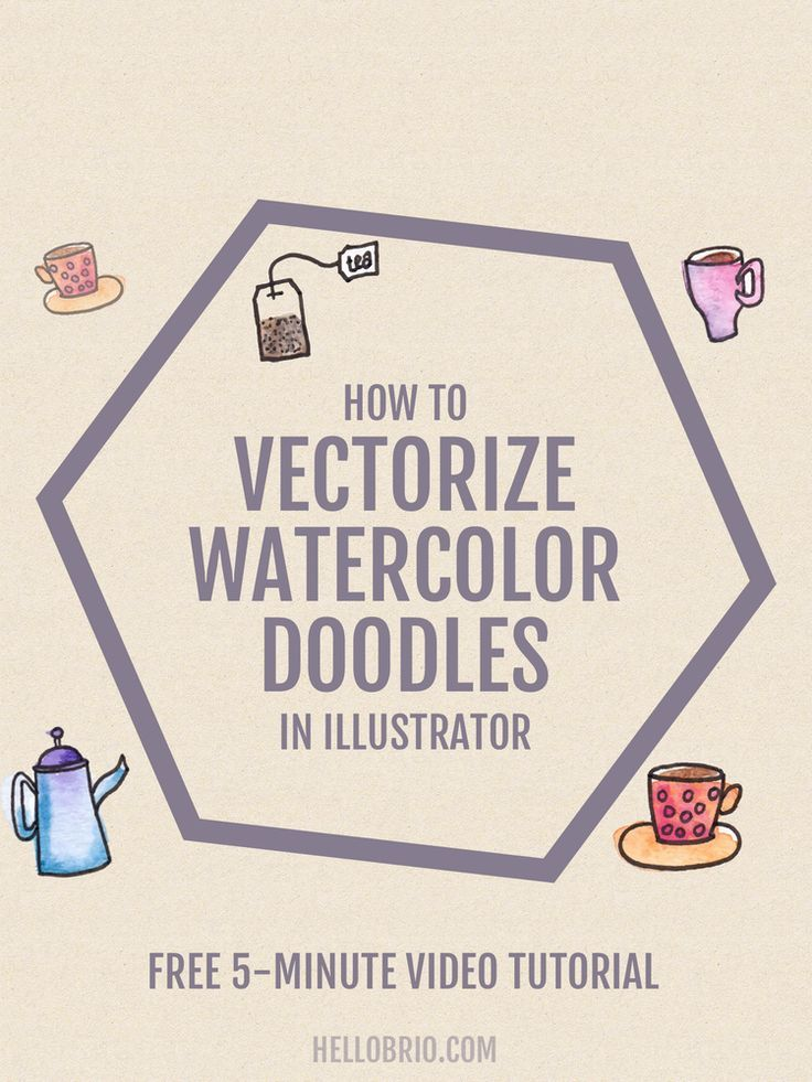 Click through to learn how to vectorize watercolor doodles using Adobe Illustrator. The free 5-minute video walks you through how to use the Pentel waterbrush to create fun watercolor doodles, then you can scan and digitize your waterdoodles to make anything—even repeating pattern designs!
