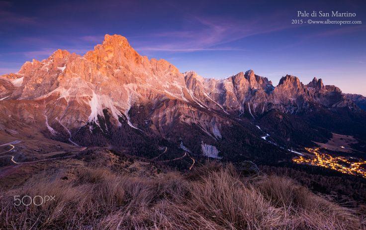 The Pale di San Martino massif - The Pale di San Martino massif at sunset. The Dolomites. Region Trentino. Italy. ©www.albertoperer.com