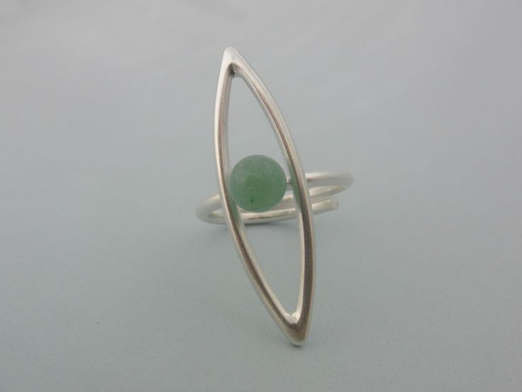 Handmade silver ring with aventurine
