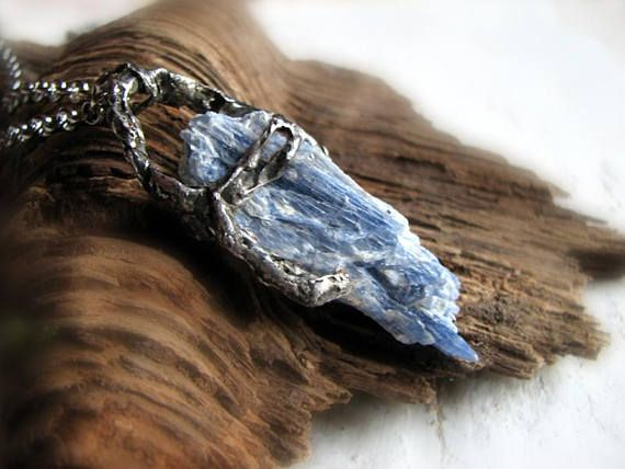 Raw kyanite pendant natural blue kyanite amulet shamanic