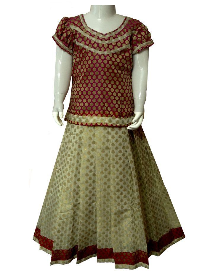#readymadePattupavadai #kidspattupavadai brown with white Pattu pavadai