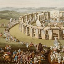 Discover Stonehenge | English Heritage. Outstanding official Stonehenge website, offering a wealth of resources such as a virtual tour, videos, interactive maps, timelines, and photos.  Stonehenge. Wiltshire, UK. Neolithic Europe. c. 2500–1600 B.C.E. Sandstone.
