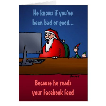 He Knows If You've Been Bad Funny Santa Card - tap, personalize, buy right now!