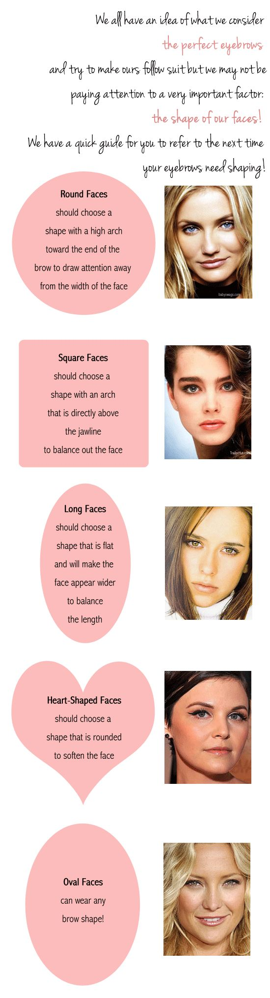 eyebrow guide for face shapes