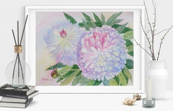 Two White Blue Peonies Watercolor  Original by NataliaPiache