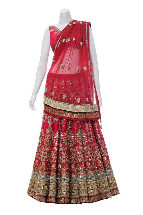 Bring bridal thoughts within yourself by wearing this red color bridal lehenga choli. This lehenga is on flat 50% off now for a limited period