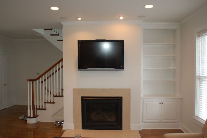 Built In Shelves On One Side Of Fireplace Google Search Fireplace Bookcase Custom Fireplace