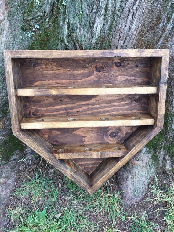 Wooden Home Plate Baseball Shelf Display Holder by SoniaNSpice