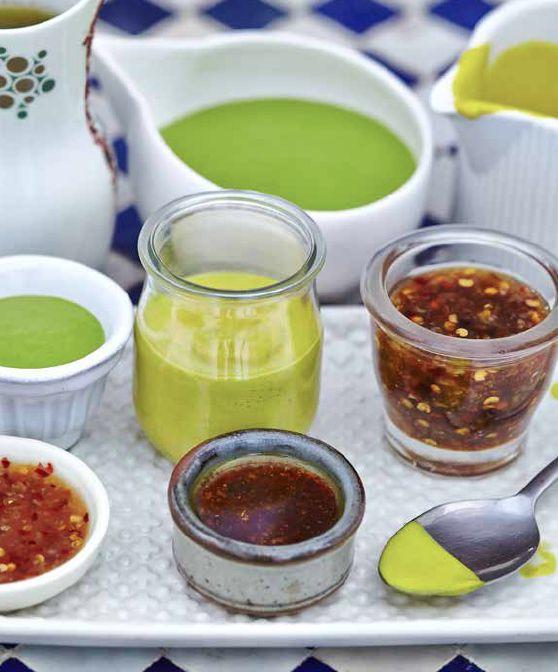 Green Goddess Dressing, Thai Sweet Chilli Sauce, Pomegranate Molasses Dressing, Turmeric Avocado Dressing.