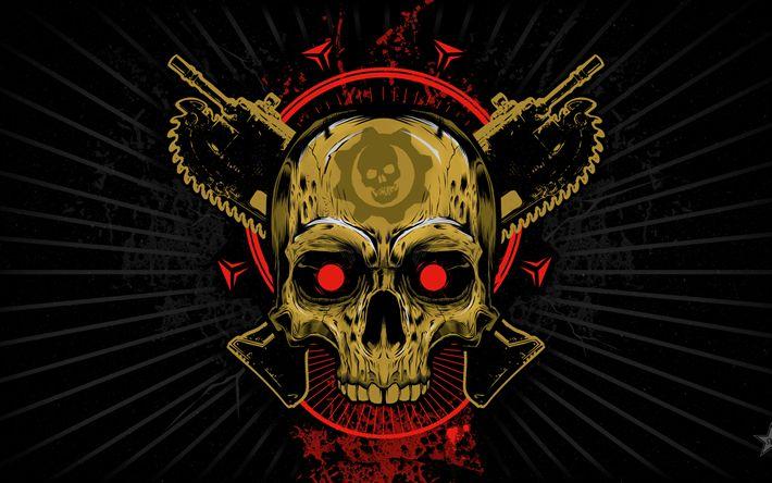 Hämta bilder Gears of War, grunge, logotyp, konst, skull