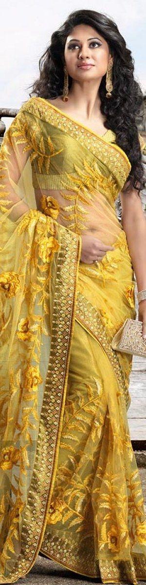 Yellow Indian Saree
