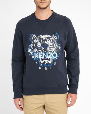 Sweat Shirt Col Rond Bleu Logo Tigre Brodé Kenzo KENZO
