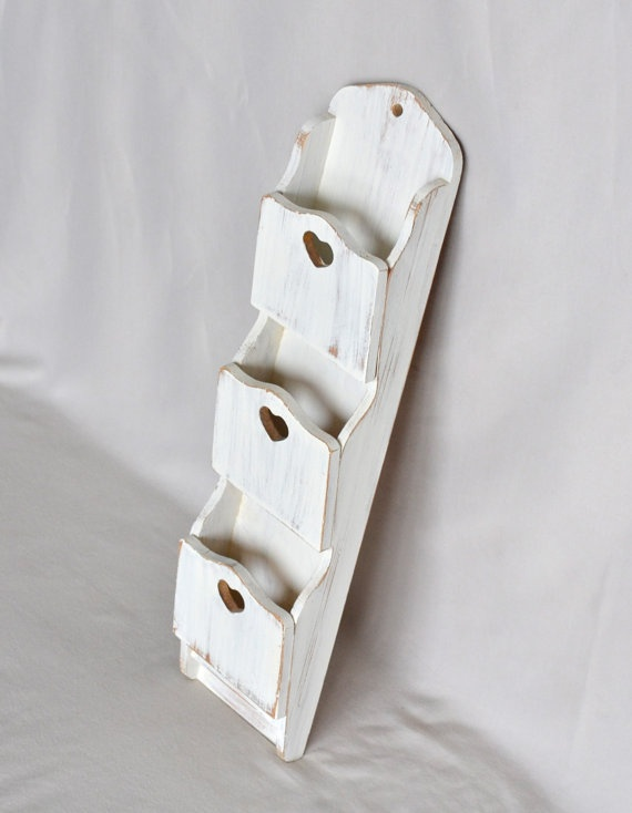 White Distressed Shabby Chic Mail Organizer by ShabbyChicLife, $28.00