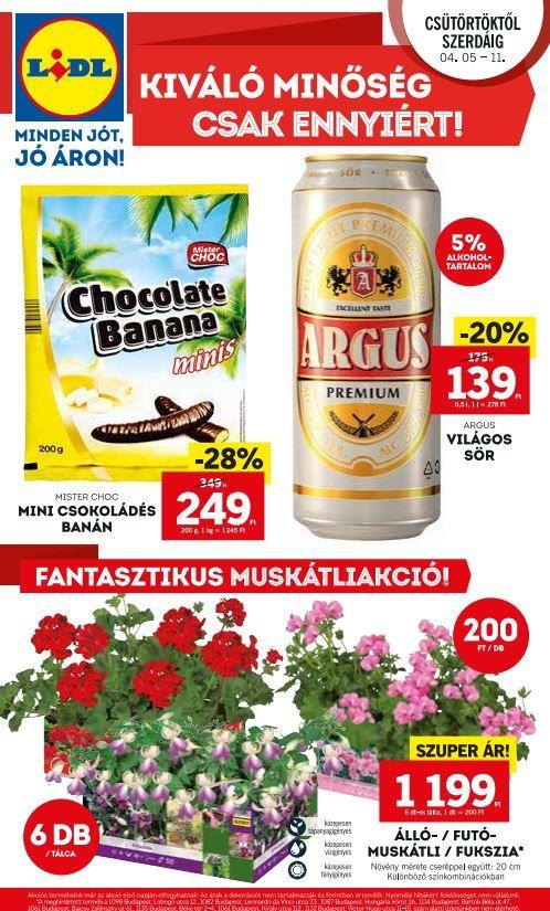 LIDL Akciós Újság 2018. 04.05-04.11-ig: Argus sör, Csokoládés banán, Fantasztikus muskátli akció és még sok akciós ajánlat ebben a 44 oldalas Lidl katalógusban.