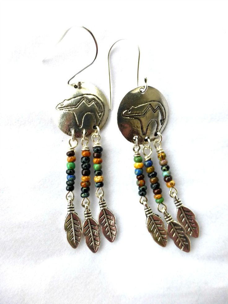 Bear charm Indian earrings. Czech seed bead and argentium silver earrings.