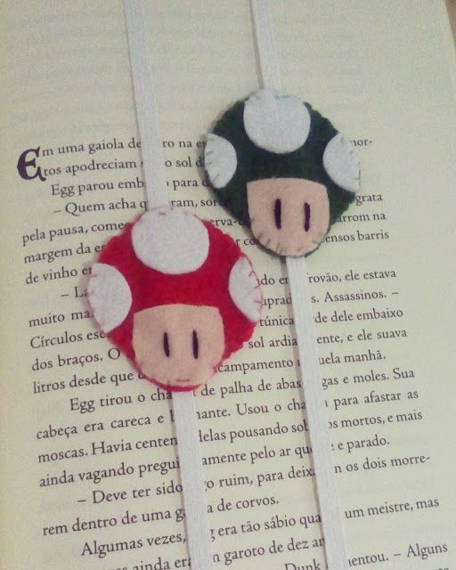 Artesanatos da Dessa : Marcador de livros Cogumelo do Mário