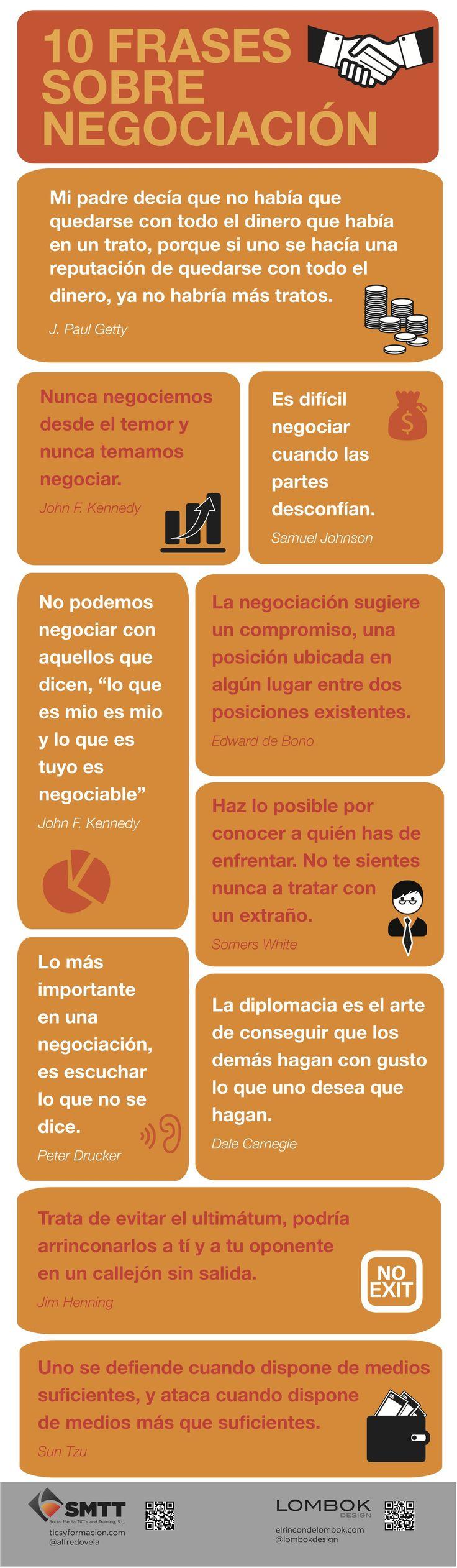 10 frases célebres sobre negociación #infografia #infographic #citas