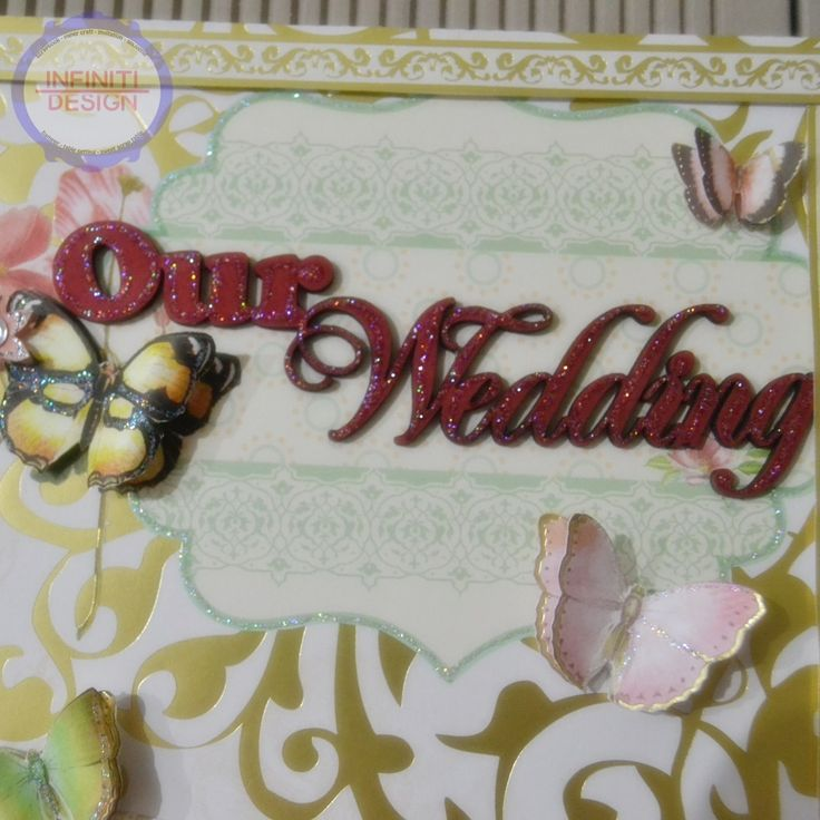 wedding scrapbook details - chipboard and butterflies
