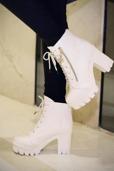 Women's Pure Color High Heel Thick Heel Shoelace Boots #white #boots #shoes #shoesaddict