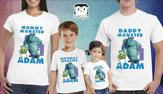 Monsters INC Birthday Shirt, Mike and Sully shirt, Monster INC shirt, 1st birthday boy onesie or t-shirt, Monster inc baby shower party This shirt will be MADE TO ORDER with your birthday boy or girl name and age. Our shirts are 100% cotton & we use *Iron On Transfer. Note: The