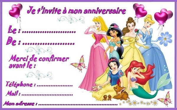 Etiquettes Invitations Princesses Pour Anniversaire Invitation
