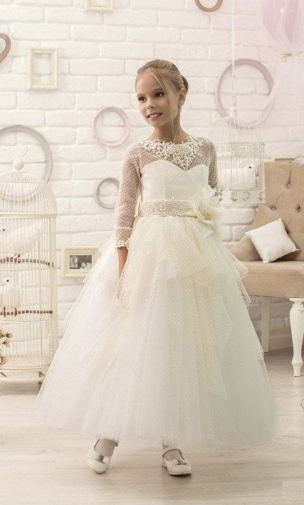 Ivory Cream Flower Girl Dress with sleeves First Communion Dress | Tulle Dress | Pageant Dresses | Toddler Dresses or older