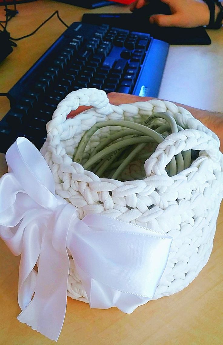Hand made t-shirt yarn baskets in lovely colors!