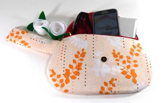 Orange Fabric Purse Clutch with Strap - Orange and White - Gifts for Her