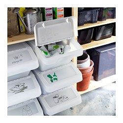 SORTERA Recycling bin with lid - 10 gallon - IKEA (use for vegetables or snacks in pantry)