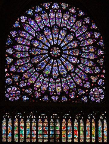 North rose window Notre Dame interior