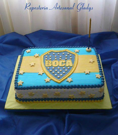 "Torta Club Argentino Boca Juniors.  Facebook: ""Repostería Artesanal Gladys"""