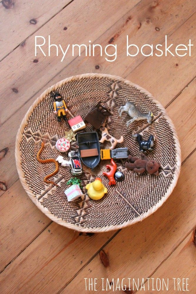 Rhyming basket literacy activity for kids. Repinned by SOS Inc. Resources pinterest.com/sostherapy/.