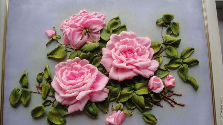 Купить Картина вышитая лентами Розовые розы - комбинированный, розовые розы, розы