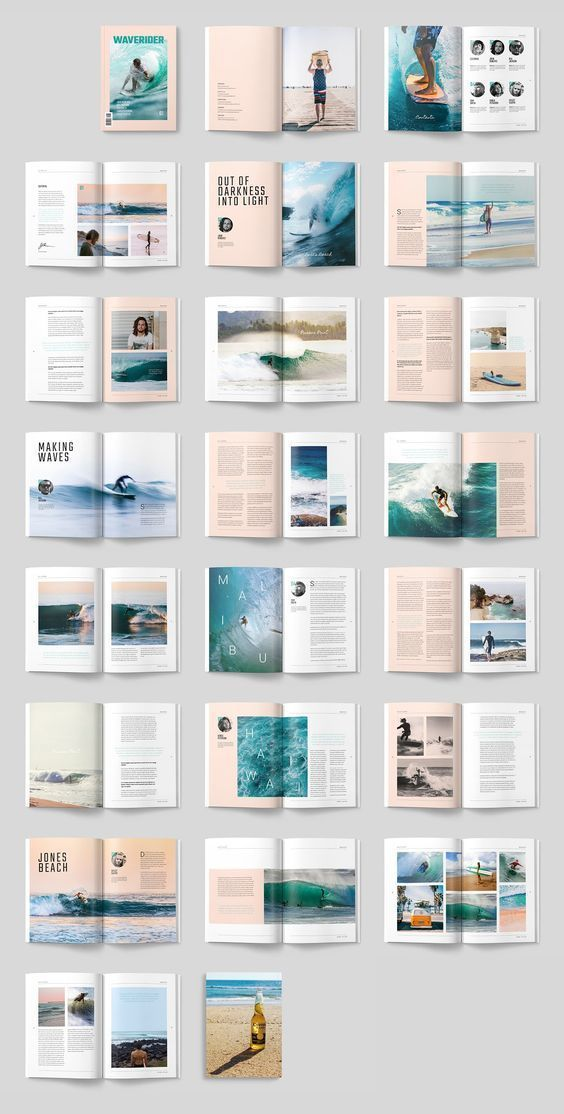 A modern, minimal, magazine, folio or brochure InDesign template. This layout has been designed as a Surfing magazine, but could easily be turned into any sort of sport or adventure theme. A4 AND US LETTER TEMPLATES AND Links to Free Fonts and Photos used in the product files are included in the supplied .txt files